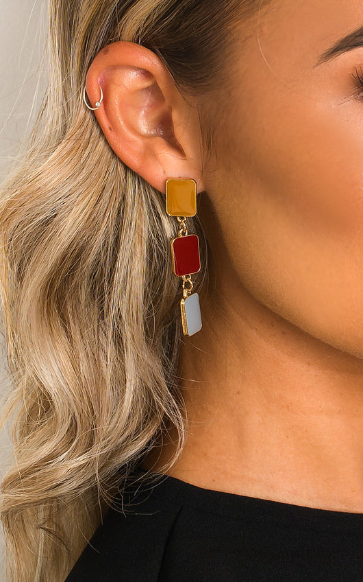Zena Rectangle Drop Earrings