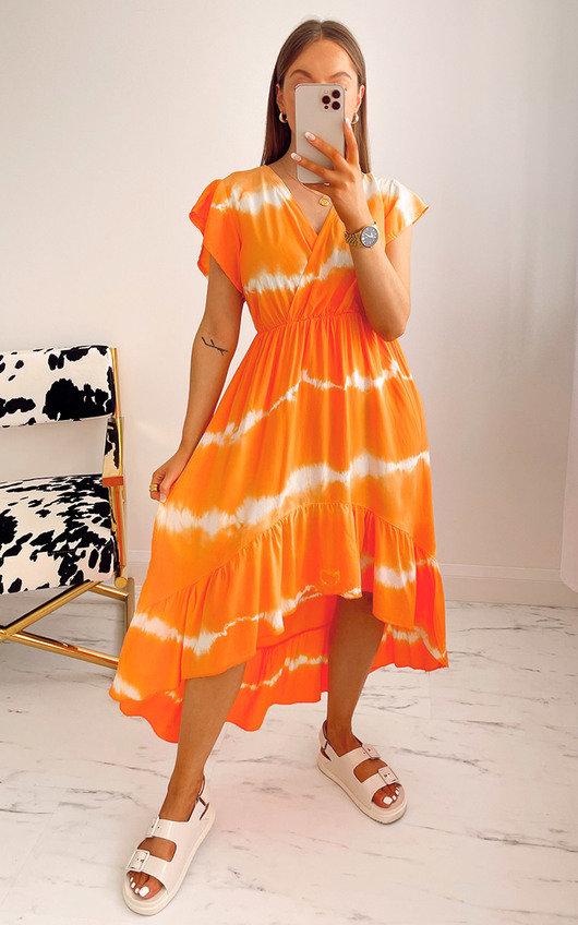 Zene Printed Ruffle Midi Dress