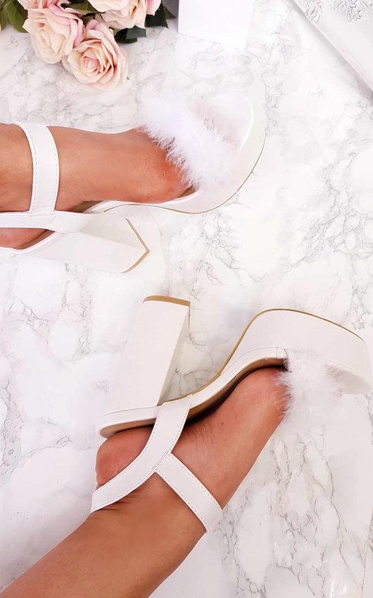 db8e4adeab Zhafia PU Strappy Platform Faux Feather Block Heels in White | ikrush