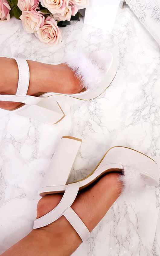 48f4c7b0b65 Zhafia PU Strappy Platform Faux Feather Block Heels in White