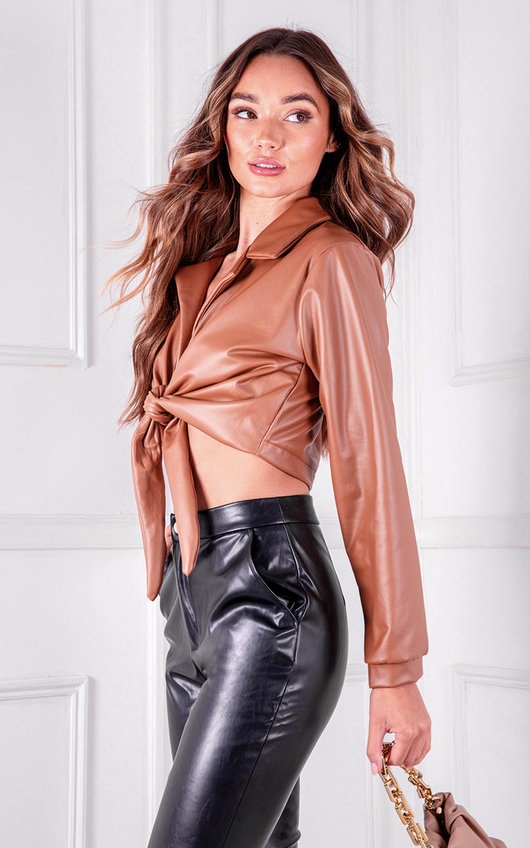 Zina Faux Leather Collared Tie Knot Crop Top