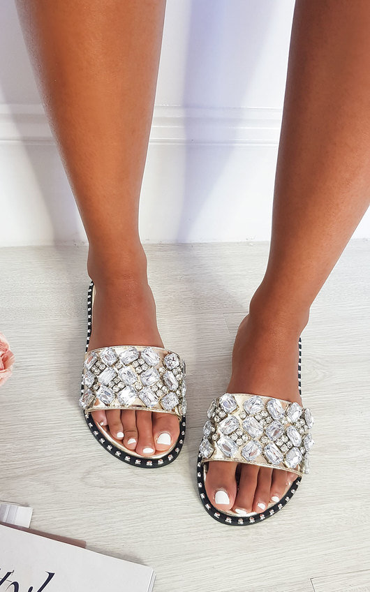 Zina Jewelled Slip On Sandals