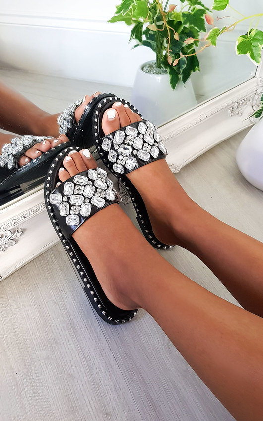 Zina Jewelled Slip On Sandals