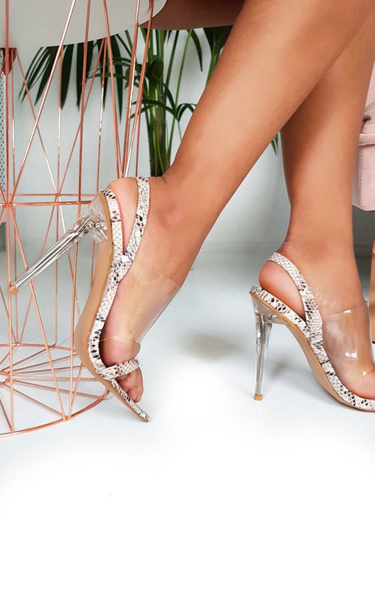 fae3063356a Zoe Barely There Perspex Strappy Heels
