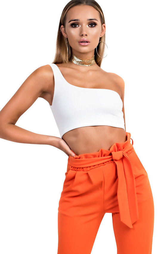2647e0c1d806 Kaylee One Shoulder Crop Top in White