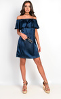 Rhodes Satin Bardot Dress Thumbnail