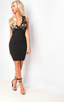 Jayline Wrap Front Lace Bodycon Dress Thumbnail