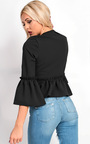 Phoebe Collarless Frill Bell Sleeve Blazer Jacket Thumbnail