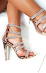 Sara Strappy Diamante High Heels  Thumbnail