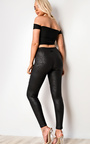 Iggy Black Leather Look Panel Leggings Thumbnail