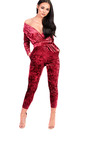 Kye Velvet Plunge Fitted Jumpsuit Thumbnail