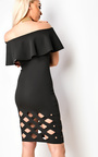 Samanthia Lasercut Off Shoulder Bodycon Dress Thumbnail