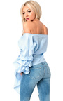 Reese Ruffle Sleeve Wrap Tie Front Shirt Thumbnail