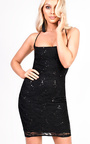 Kelsey Strappy Lace Sequin Bodycon Dress Thumbnail