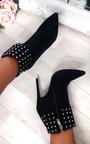 Sara Faux Suede Studded Ankle Boots Thumbnail