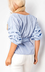Emily Gingham Ruffle Tie Front Shirt Thumbnail
