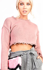 Holly Knitted Distressed Cropped Jumper Thumbnail