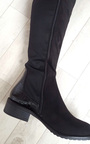 Aby Faux Suede Patent Knee High Boots Thumbnail