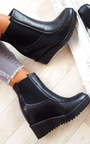 Kelsey Stretch Faux Leather Wedged Ankle Boots Thumbnail