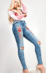 Tasha Embroidered Ripped Skinny Jeans Thumbnail
