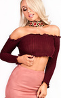Brianna Ribbed Long Sleeved Crop Top Thumbnail
