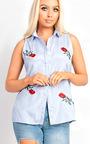Elsa Embroidered Sleeveless Shirt Thumbnail