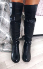 Jada Faux Leather Gold Bar Knee High Boots Thumbnail