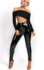 Karley High Shine PU Zip Trousers Thumbnail