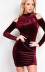Elouise Velour Cold Shoulder Bodycon Dress Thumbnail
