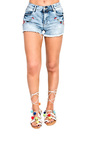 Melde Denim Embroidered Shorts Thumbnail