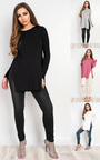 Laila Basic Side Split Casual Top Thumbnail