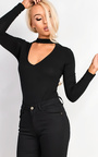 Thays Choker Neck Long Sleeve Bodysuit Thumbnail