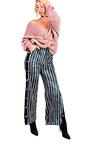 Lexie Velvet Popper Legged Stripe Trousers Thumbnail