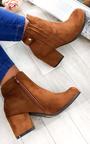 Klarissa Faux Suede Gold Button Ankle Boots Thumbnail