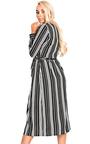 Meghan Stripe Midi Floaty Wrap Over Dress Thumbnail