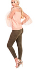 Paige High Waist Beaded Side Faux Suede Leggings Thumbnail