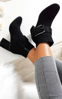 Carms Large Buckle Faux Suede Ankle Boots Thumbnail