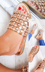 Luisa Studded Caged Open Toe Sliders Thumbnail