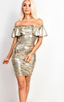 Lacey Metallic Off Shoulder Bodycon Dress Thumbnail