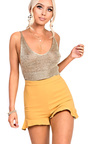 Daliah Gold Metallic Knitted Crop Top Thumbnail