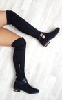 Irena Faux Suede Gold Bar Knee High Boots Thumbnail