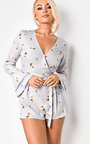 Shan Floral Print Bell Sleeved Playsuit Thumbnail