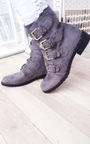 Alexis Studded Buckle Faux Suede Ankle Boots Thumbnail