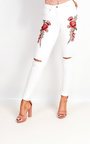 Liza Embroidered Ripped Skinny Jeans Thumbnail