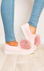 Aliana Pompom Faux Suede Trainers Thumbnail