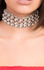 Kylie Diamante Pearl Choker Necklace Thumbnail