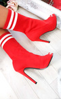 Amara Peep Toe Stiletto Sock Boots Thumbnail