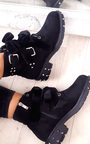 Taylor Studded Bow Faux Suede Ankle Boots Thumbnail