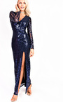 Olivia Sequin Plunge Evening Maxi Dress Thumbnail