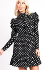 Emily Polka Dot Tie Neck Blouse Peplum Dress Thumbnail